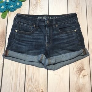 American Eagle women's midi jean shorts